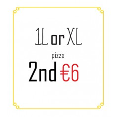 1L or XL pizza, 2nd for €6
