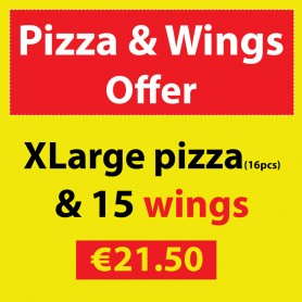 XLarge Pizza & 15 Chicken Wings